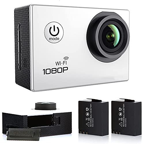 Action Cam WiFi, Action Kamera 14 MP 30 FPS WiFi Actionkamera 2.0 Zoll LCD Sportkamera 1080P Full HD 170 ° Weitwinkel Actioncam [Ohne Wasserdicht Case]- Weiß