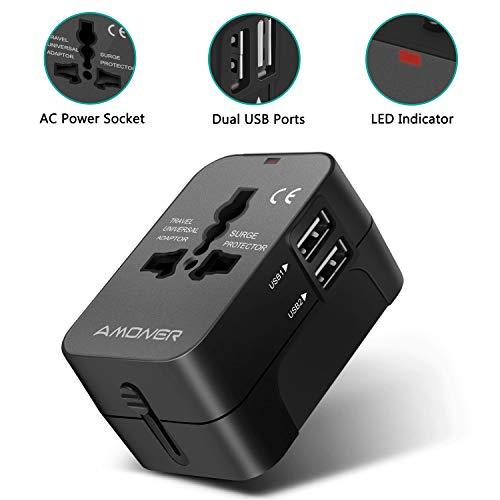 Amoner Reiseadapter Steckdosenadapter Universal Adapter Travel Plug Stromadapter Weltweit Reisestecker,3 USB+1 Typ C,5A für die USA Europa UK AU Thailand China usw.