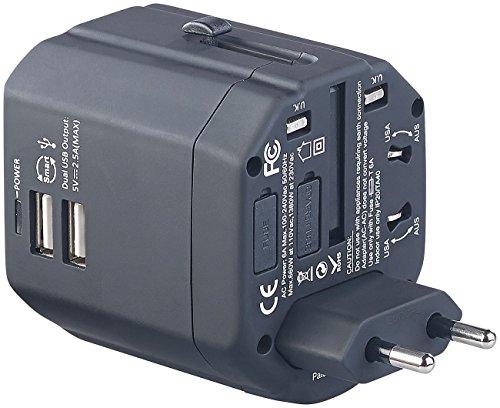 reVolt Weltreisestecker: 3in1-Universal-Welt-Reisestecker mit 2 USB-Ladeports, 2,5 A, 12,5 Watt (Weltstecker)