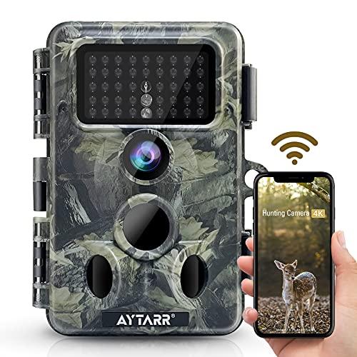 4K 30MP WLAN Bluetooth Wildkamera, APP Control 940nm No Glow Nachtsicht Aytarr Jagdkamera 0,3s 65ft Trigger 120 ° Wide 3PIR IP66 Wasserdichter 2,4