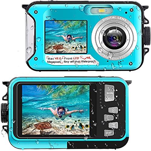 Unterwasserkamera Full HD 2.7K 48MP 10FT Kamera Wasserdicht Dual Screen 16X Digital Zoom Schnorcheln wasserdichte Digitalkamera fü r Selbstauslöser Unterwasser, Schwimmen, Urlaub