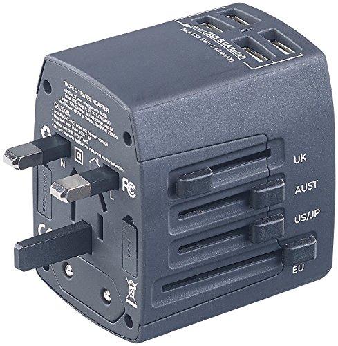 revolt Reiseadapter: 3in1-Universal-Welt-Reisestecker mit 4 USB-Ladeports, 5 A, 25 Watt (Reisenetzteil)